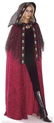 Hexen Cape (Halloween Damen Kostüm Karneval Cape Hexe Burgunderfarben mit Kapuze Hexenkostüm)
