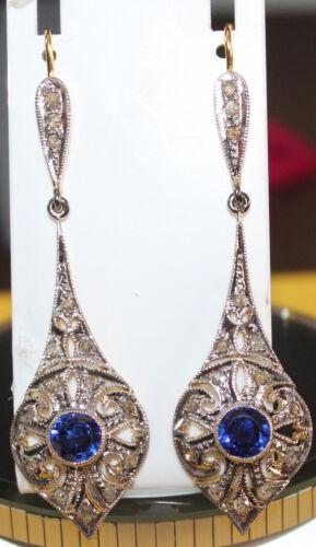 2.30cts ROSE CUT DIAMOND SAPPHIRE ANTIQUE VICTORIAN LOOK SILVER DANGLER EARRING