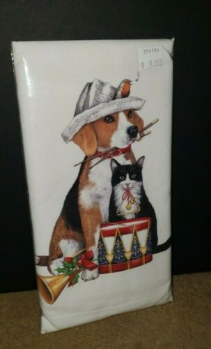 Mary Lake Thompson CHRISTMAS BEAGLE AND CAT Kitchen Flour Sack Towel NIP