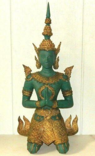 "HUGE ANTIQUE THAI BODHISATTVA GILT BRONZE BUDDHA 31"" STATUE NAMASAKRA MUDRA"