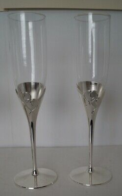 SET OF 2 LENOX CRYSTAL FOREVERMORE TOASTING FLUTES SILVER-PLATED STEM - Lenox Crystal Plates