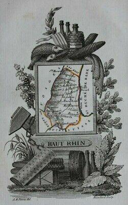 Miniature antique map, HAUT RHIN, COLMAR, FRANCE, A.M. Perrot, 1824