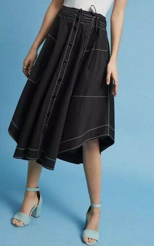 ANTHROPOLOGIE Tracy Reese Drew Handkerchief Black Skirt Sz M NEW