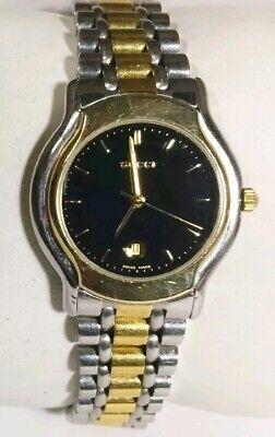 Vtg Women Gucci Watch 8000.2l Gold & Silver Case Steel Bracelet Black Face Swiss