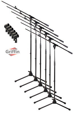 Microphone Stand 6 PACK - Griffin Telescoping Boom Arm Mic Studio Stage Tripod Boom Arm Microphone Stand