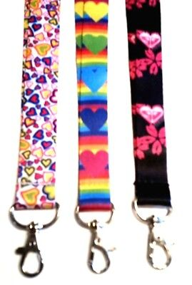 Hearts Lanyard (Hearts Print LANYARD key chain ID Holder Strap Rainbow, Black & Pink or Multi )