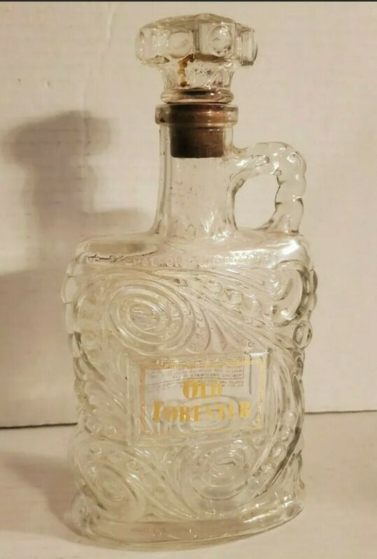 Vintage Old Forester Kentucky Bourbon Empty Bottle Iridescent Glass