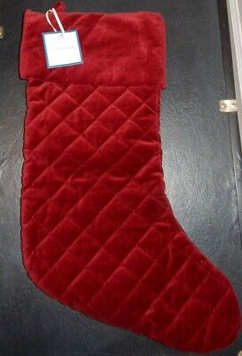 Clearance Williams Sonoma Red Velvet Quilted Large Christmas Stocking