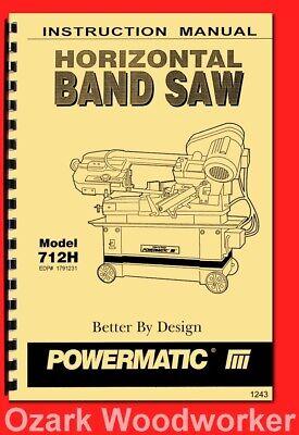 Powermatic Model 712h Horizontal Band Saw Instructions Part Owners Manual 1243