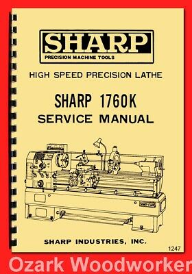 Sharp 1760k Metal Lathe Instructions Part Owners Manual 1247