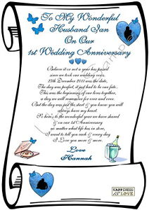 1st WEDDING ANNIVERSARY HUSBAND PERSONALIZE CARD SCROLL