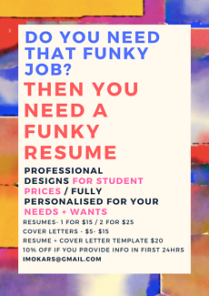 Funky resumes for funky prices!