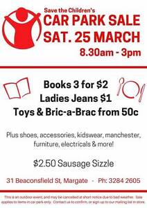 Car Park/Garage Sale at Save the Children Margate Margate Redcliffe Area Preview