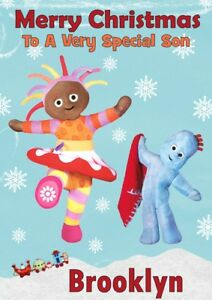 personalised Christmas card In The Night Garden any name/relation.