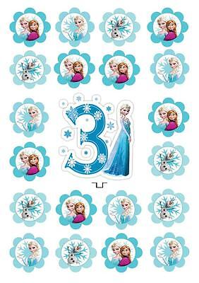 3rd Disney Frozen Birthday  STAND UP Cupcake Cake Toppers Edible  Decorations  ()