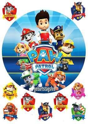 Tortenaufleger Paw Patrol - rund 20cm-Oblate/Dekorpapier - mit Muffinaufleger