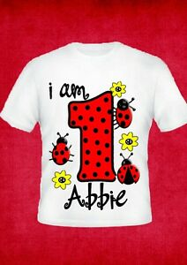 girls 1st  2nd any age birthday ladybird  bug party personalised t shirt new