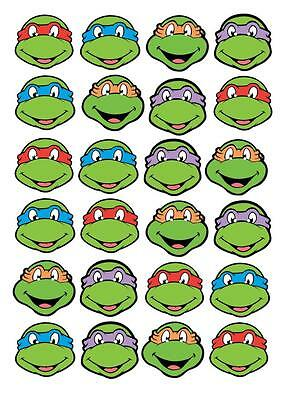 24 NINJA TURTLE STAND UP Cupcake Fairy Cake Toppers Edible Paper Decoration  (Edible Ninja Turtle Cupcake Toppers)