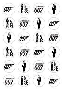 24 James Bond 007 Edible Cupcake Fairy Cake Toppers Rice Paper decoration