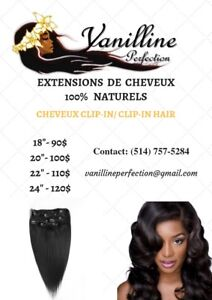CLIP IN NATURAL HAIR EXTENSIONS/ EXTENSIONS CHEVEUX CLIP IN