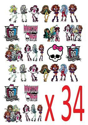 34 MONSTER HIGH STAND UP Cupcake Fairy Topper Edible Paper Decorations edible ()