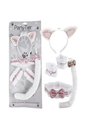 Katze Kostüm Verkleidungs-Set 5-teilig Fasching Schwanz Halsband Haarreif - Faschingkostüm Katze Kostüm