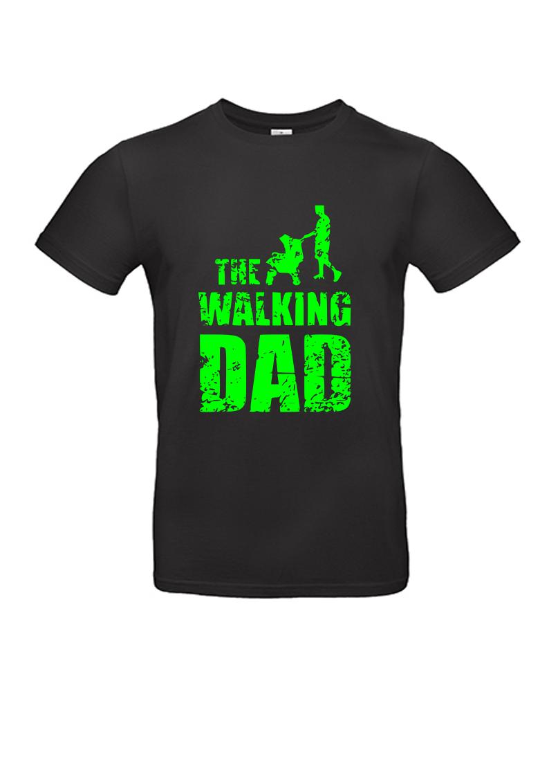 """T-Shirt """" The walking DAD"""" Schwarzes Shirt mit NEON-Aufdruck"""