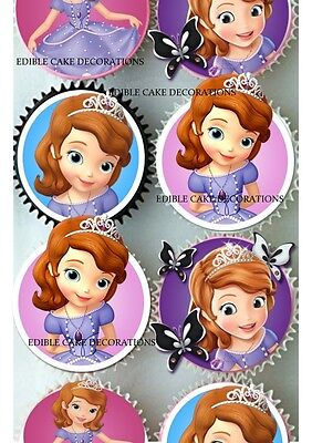 24 SOFIA THE FIRST  Edible Cupcake Fairy Cake Toppers Rice Paper decoration  - Sofia The First Cupcake Cake