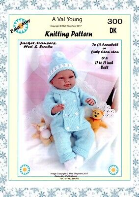 """DOLLS KNITTING PATTERN  No.300 for a 17"""" to 19"""" inch doll Val Young"""