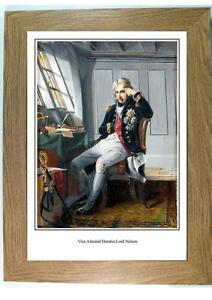 Framed portrait print of Admiral Lord Horatio Nelson aboard Victory at trafalgar