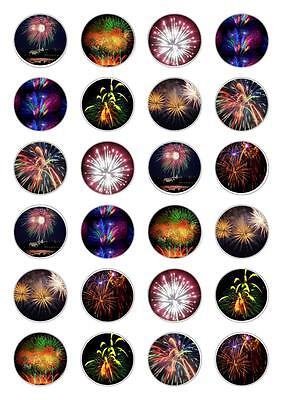 24 Bonfire Night Fireworks Cupcake Cake Toppers Edible Rice Paper Decorations](Bonfire Night Decorations)
