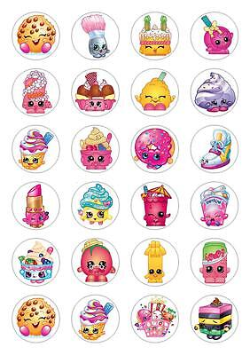 24 Shop Kins Cupcake Cake Toppers Edible Rice Paper Decorations Toppers