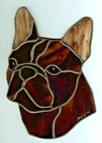 STAINED GLASS DOG - FRENCH BULLDOG - BRINDLE