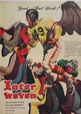 1948 Interwoven Socks Football Good Foot Work Mens Fashion Art 1940s Print Ad