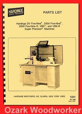 Hardinge Dv59 Dsm59 Dsm59r Vbs Vbsr Metal Lathes Parts Manual 87 1231