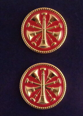 2 Fire CHIEF GOLD & RED 5 Bugles CROSSED Discs Collar/Lapel Pins 1""