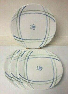 White Dinner Plates Bulk (4 Dinner PLATES, Corelle/Corning LINEN FLOWER 10.25