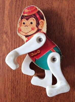 Wooden Little Monkey 1960's Fisher Price Junior Circus # 902 Rare Vintage Toy
