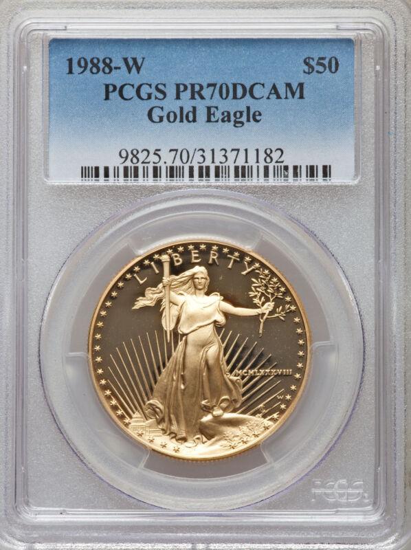 1988-W GOLD EAGLE PROOF $50 PCGS PR70