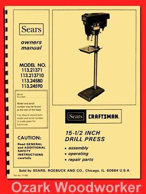 Craftsman 113.21371 113.213710 Drill Press 15-12 Operator Part Manual 0175