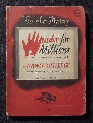 1949 1949 MURDER FOR MILLIONS by Rutledge VG- Bestseller Mystery B135