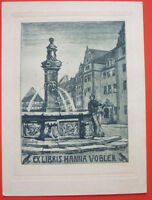 Exlibris, Ex Libris ,hanna Vogler, Art Nouveau, Stadt, Fontane, Pesce -  - ebay.it