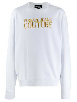 Versace Jeans Couture Logo Embroidered Sweater In White