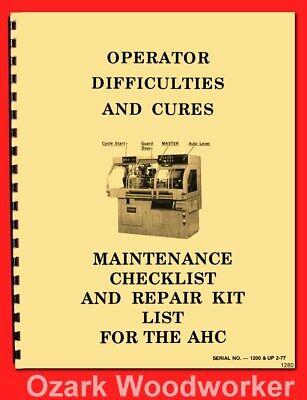 Hardinge Ahc Automatic Chucking Metal Lathe Maintenance Troubleshoot Manual 1280