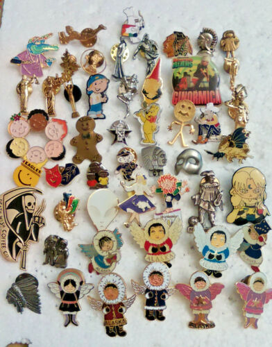 50 Character Theme Lapel Pins pin lot