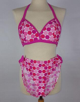 Triangel Push up Bikini Pünktchen pink weiß 44 B vorgeformte Cups 389 neu