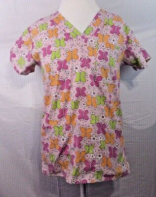 Just love scrub top womens pink butterflies XS spring green two pockets X Butterfly Two Pocket Scrub