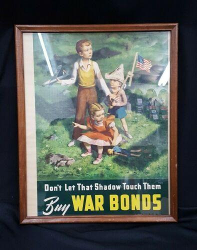 """Original 1942 U.S. Government Office Framed Poster """"Buy War Bonds"""""""