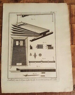 1 Engraving, Titled - LUTHIER, SUITE DE L'ORGUE, BASCULES BRISEES - Mid 1700s