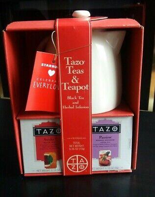 Starbucks TAZO Teapot Tea Set Gift Box White / Beige Ceramic Tea Pot 2012 -